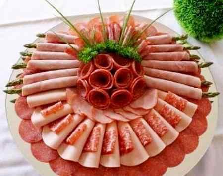 Мясная нарезка из сложенной кобасы