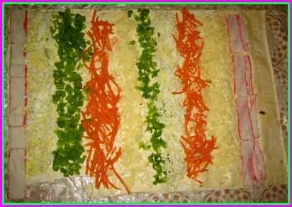 Салат крабовые палочки в лаваше