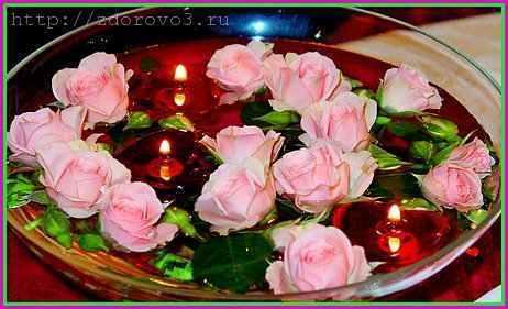 Розы в воде и плавающие свечи